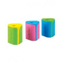 """Точилка пластиковая """"Centrum"""", 37x30x30мм, 1 отверстие, корпус ассорти, с контейнером, 60шт"""
