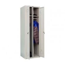 Металлический шкаф для одежды Практик LS-21, 2 секции, полка, перекладина, крючки