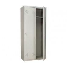 Металлический шкаф для одежды Практик LS-21-80, 2 секции, полка, перекладина, крючки