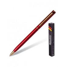"""Ручка шариковая """"Brauberg Slim Burgundy"""", 1мм, синяя, металлический бордовый корпус, поворотный меха"""