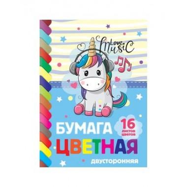 """Набор цветной бумаги """"Hatber Eco"""", А4,16л, 16цв, двухсторонняя, серия """"I Love Music"""", на скобе"""
