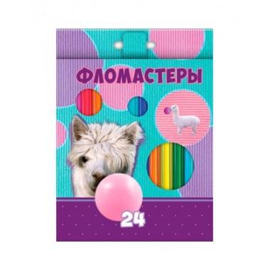 """Фломастеры """"Hatber VK"""", 24 цвета, серия """"Альпака"""", в картонной упаковке"""