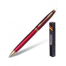 """Ручка шариковая """"Brauberg De Luxe Red"""", 1мм, синяя, металлический бордовый корпус, повортный механиз"""