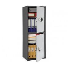 Бухгалтерский шкаф Практик SL-125/2Т EL, 2 ячейки (ключевой и кодовый замки), 2 полки и трейзер