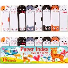 """Набор закладок бумажных """"Centrum"""", 48x15мм, 15л, 8 цветов, фигурные в форме котиков, в пакете"""