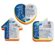 """Бумага для заметок """"Centrum"""", 50x45мм, 100л, 5 цветов неон, клеевой край, фигурный, в пакете"""