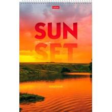 """Блокнот """"Hatber"""", 60л, А4, клетка, лак, жёсткая подложка, на спирали, серия """"Sunset"""""""