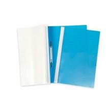 """Папка-скоросшиватель пластиковая """"Hatber"""", А4, 100/120мкм, прозрачный верх, голубая"""