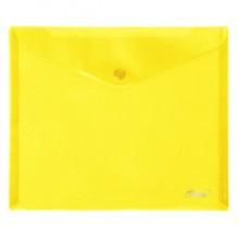 """Папка-конверт пластиковая """"Hatber"""", А5, 180мкм, на кнопке, жёлтая"""