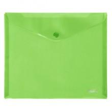 """Папка-конверт пластиковая """"Hatber"""", А5, 180мкм, на кнопке, зелёная"""