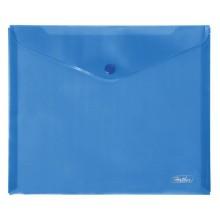 """Папка-конверт пластиковая """"Hatber"""", А5, 180мкм, на кнопке, синяя"""