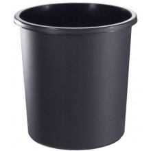 """Корзина пластиковая для бумаг """"Стамм"""", 18л, круглая, цельная, чёрная"""
