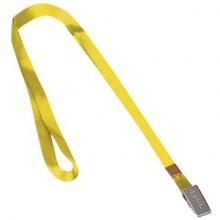 """Лента для бейджей """"Brauberg"""", 45см, металлический клип, жёлтая, в пакете"""