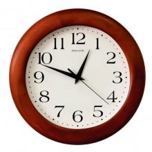 """Часы настенные """"Салют ДС-ББ28-015"""", 31х31х4,5см, круглые, белые, коричневая рамка"""