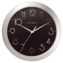 """Часы настенные """"Troyka"""", 30,5х30,5х5см, круглые, чёрные, серебристая рамка"""