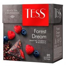 """Чай чёрный """"Tess"""", серия """"Forest Dream"""", 20 пакетиков-пирамид, по 1,8гр,с ароматами еживики и малины"""