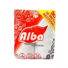 """Бумажные полотенца """"Mini Alba"""", 220л. 2 слоя, белые, упакованы по 2 рулона"""