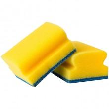 """Губка для мытья посуды """"OfficeClean"""", 96x64x42мм, поролон, абразивный слой, жёлтые, 2шт в пакете"""