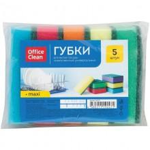 """Губка для мытья посуды """"OfficeClean Maxi"""", 90x65x27мм, поролон, абразивный слой, ассорти, 5шт в паке"""