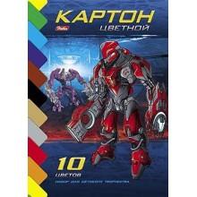 """Набор цветного картона """"Hatber"""", 10л, 10цв, А5, серия """"Роботы-трансформеры"""", на клею"""