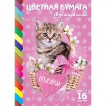 """Набор цветной бумаги """"Hatber Eco"""", 16л, 16цв, А4, двусторонняя, серия """"Котик"""", на скобе"""