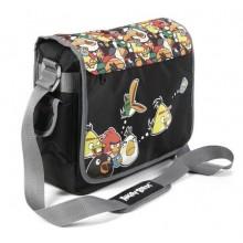 """Сумка текстильная """"Hatber"""", 31x36x11см, серия """"Angry Birds №2"""", чёрная с рисунком"""