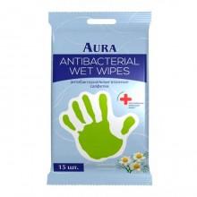 """Салфетки влажные """"Aura"""", антибактериальные с ароматом ромашки, упакованы по 15шт"""