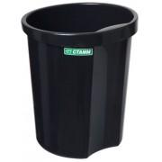 """Корзина пластиковая для бумаг """"Стамм"""", 12л, круглая, цельная, чёрная"""