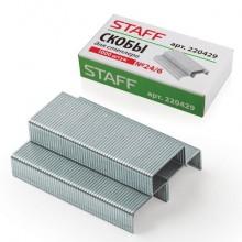 """Скобы для степлера """"Staff"""", №24/6, оцинкованные, 1000 штук в картонной упаковке"""