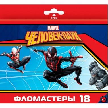 """Фломастеры """"Hatber VK"""", 18 цветов, серия """"Человек-паук"""", в картонной упаковке"""