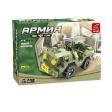 Игровой конструктор, Ausini, 22404, Армия, Военный внедорожник, 108 деталей, Цветная коробка