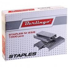 """Скобы для степлера """"Berlingo"""", №23/8, оцинкованные, 1000 штук в картонной упаковке"""