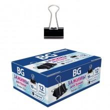 """Зажимы для бумаг """"BG"""", 19мм, 80л, чёрные, 12шт в картонной упаковке"""