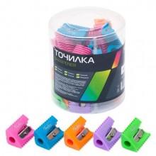 """Точилка пластиковая """"Hatber"""", 1 отверстие, 5 цветов ассорти, 36 штук в пластиковой упаковке"""