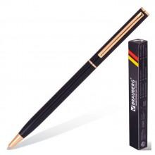"""Ручка шариковая """"Brauberg Slim Black"""", 1мм, синяя, металлический чёрный корпус, поворотный механизм"""