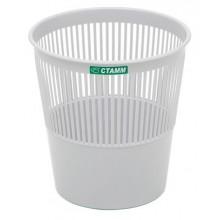 """Корзина пластиковая для бумаг """"Стамм"""", 9л, круглая, сетчатая, серая"""