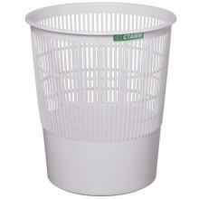 """Корзина пластиковая для бумаг """"Стамм"""", 18л, круглая, сетчатая, серая"""