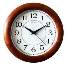 """Часы настенные """"Салют ДС-ББ28-014"""", 31х31х4,5см, круглые, белые, коричневая рамка"""