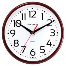 """Часы настенные """"Troyka"""", 23x23x4см, круглые, белые, коричневая рамка"""