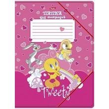 Папка для тетрадей с клапанами А5 картонная на резинке -Tweety-  (WB)