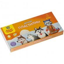"""Пластилин """"Мульти-Пульти"""", 6 цветов, 90гр, со стеком, серия """"Енот на Аляске"""", в картонной упаковке"""