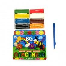 """Пластилин восковой """"BG"""" 6 цветов, 90гр, со стеком """"Весёлая пчёлка"""", в картонной упаковке"""