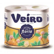 """Туалетная бумага """"Linia Veiro Floria"""", серия """"Цветущий апельсин"""", 25м, 2 слоя, белая, упакованы по 4"""
