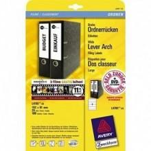 Самоклеящиеся этикетки Avery для корешков папок AZL4760-25,38х192мм,IJ+L+K+CL,бел,25л