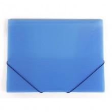 """Папка пластиковая """"Hatber"""", А4, 400мкм, на резинке, серия """"Line - Синяя"""", полупрозрачная"""