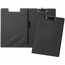 """Папка-планшет ПВХ """"Hatber"""", А4, металлический зажим, с крышкой, чёрная"""