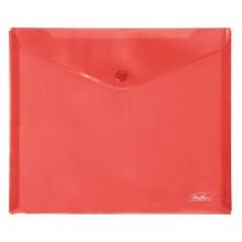 """Папка-конверт пластиковая """"Hatber"""", А5, 180мкм, на кнопке, красная"""