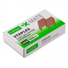 """Скобы для степлера """"Hatber X-Mate"""", №24/6, 6мм, медные, 1000шт в картонной упаковке"""