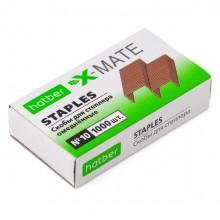 """Скобы для степлера """"Hatber X-Mate"""", №10, 5мм, медные, 1000шт в картонной упаковке"""