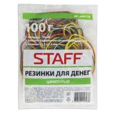 """Банковская резинка для денег """"Staff"""", 100гр, натуральный каучук, цветные, в пакете"""